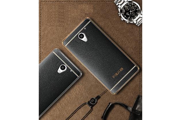 Премиальная элитная крышка-накладка на zte blade a510 черная из качественного силикона с дизайном под кожу