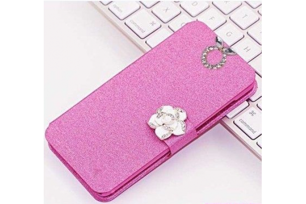 Роскошный чехол-книжка безумно красивый декорированный бусинками и кристаликами на zte blade a510 розовый