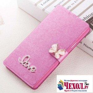 Фирменный роскошный чехол-книжка безумно красивый декорированный бусинками и кристаликами на ZTE Blade A520 5.0 (BA520) розовый