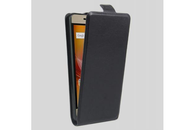 Вертикальный откидной чехол-флип для zte blade a610 plus черный из натуральной кожи prestige