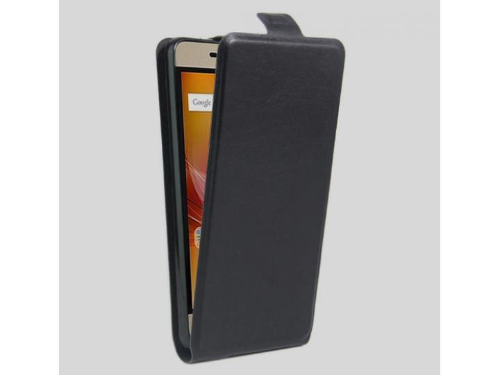 Вертикальный откидной чехол-флип для zte blade a610 plus черный из натуральной кожи prestige ..