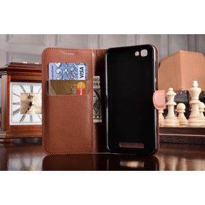 Чехол-книжка для  zte blade a610 / ba610t 5.0 с визитницей и мультиподставкой коричневый кожаный
