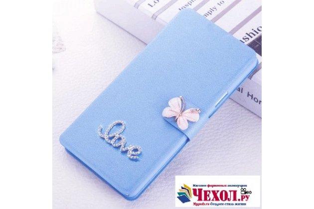 Роскошный чехол-книжка безумно красивый декорированный бусинками и кристаликами на zte blade a610c 5.0 (ba601) голубой