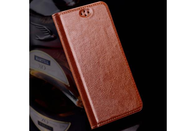 """Премиальный элитный чехол-книжка из качественной импортной кожи с мульти-подставкой для zte blade a910 / ba910 5.5""""  коричневый"""