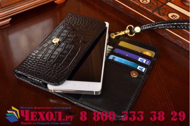 Роскошный эксклюзивный чехол-клатч/портмоне/сумочка/кошелек из лаковой кожи крокодила для телефона zte blade l4/ l4 pro. только в нашем магазине. количество ограничено