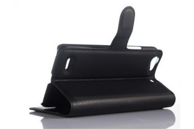 """Чехол-книжка из качественной импортной кожи с подставкой застёжкой и визитницей для zte blade l4/ l4 pro (a460) 5.0"""" черный"""