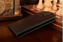 """Вертикальный откидной чехол-флип для zte blade l4/ l4 pro (a460) 5.0"""" черный кожаный """"prestige"""" италия"""