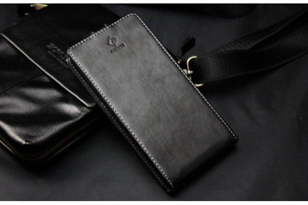 Роскошный элитный чехол-флип для zte blade q lux 3g/ q lux 4g (a430)  черный
