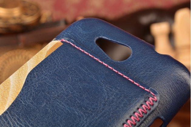 Роскошная элитная премиальная задняя панель-крышка для zte blade q lux 3g/ q lux 4g (a430) из качественной кожи буйвола с визитницей синий