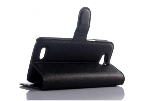 Чехол-книжка из качественной импортной кожи с подставкой застёжкой и визитницей для zte blade q lux 3g/ q lux 4g (a430) черный