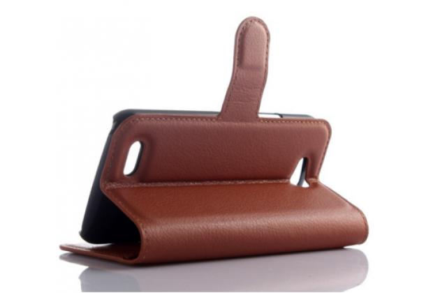 Чехол-книжка из качественной импортной кожи с подставкой застёжкой и визитницей для zte blade q lux 3g/ q lux 4g (a430) коричневый