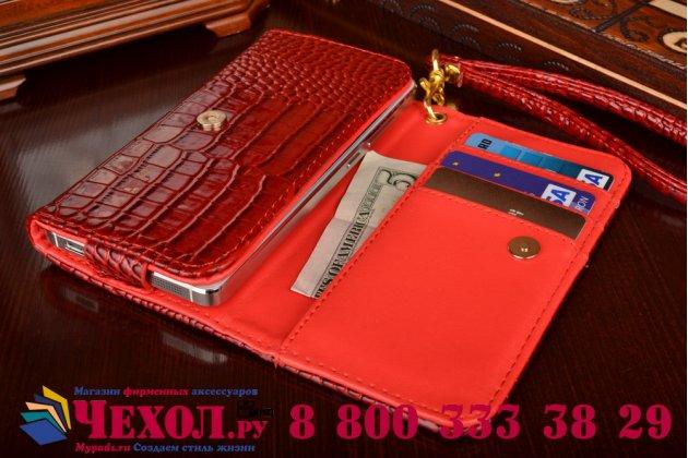Роскошный эксклюзивный чехол-клатч/портмоне/сумочка/кошелек из лаковой кожи крокодила для телефона zte blade v580. только в нашем магазине. количество ограничено