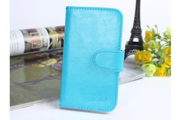 """Чехол-книжка из качественной импортной кожи с подставкой застёжкой и визитницей для zte blade v8 pro"""" голубой"""