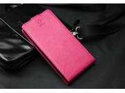 Фирменный оригинальный вертикальный откидной чехол-флип для розовый из натуральной кожи Prestige ..