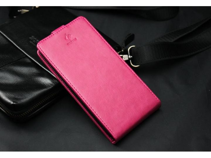 Вертикальный откидной чехол-флип для розовый из натуральной кожи prestige ..