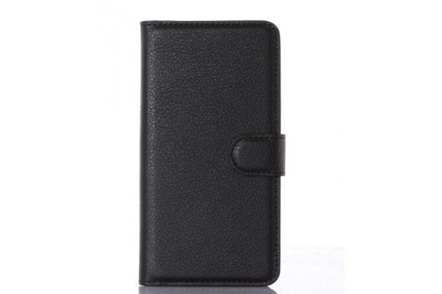 Чехол-книжка для zte blade x3/zte blade d2 5.0 с визитницей и мультиподставкой черный кожаный