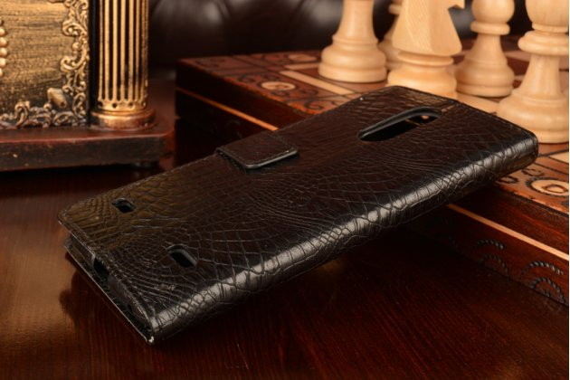 """Чехол-книжка с подставкой для zte blade x5/d3  5.0"""" лаковая кожа крокодила черный"""