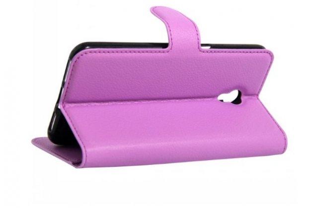 """Чехол-книжка для  zte blade x5/d3  5.0 / зте блэйд x5/d3  5.0""""  с визитницей и мультиподставкой фиолетовый кожаный"""