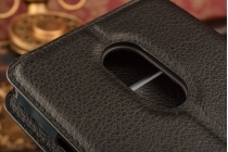"""Фирменный чехол-книжка из качественной импортной кожи с подставкой застёжкой и визитницей для ZTE Blade X9 5.5"""" черный"""