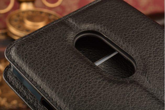 """Чехол-книжка из качественной импортной кожи с подставкой застёжкой и визитницей для zte blade x9 5.5"""" черный"""