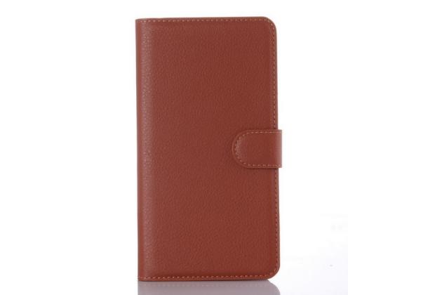 """Чехол-книжка из качественной импортной кожи с подставкой застёжкой и визитницей для zte blade x9 5.5"""" коричневый"""