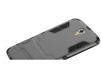"""Противоударный усиленный ударопрочный чехол-бампер-пенал для zte grand x3 (z959) 5.5""""  серый"""