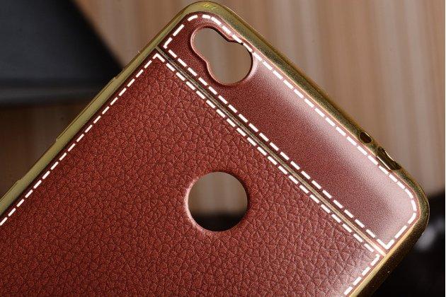 Премиальная элитная крышка-накладка на zte nubia n1 коричневая из качественного силикона с дизайном под кожу