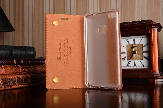 Премиальный чехол бизнес класса для zte nubia n1 5.5 из качественной импортной кожи коричневый