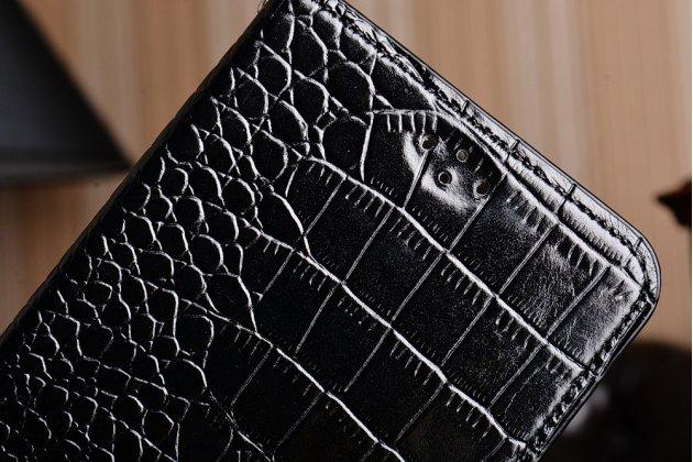 Роскошный эксклюзивный чехол с фактурной прошивкой рельефа кожи крокодила и визитницей черный для zte nubia n1. только в нашем магазине. количество ограничено