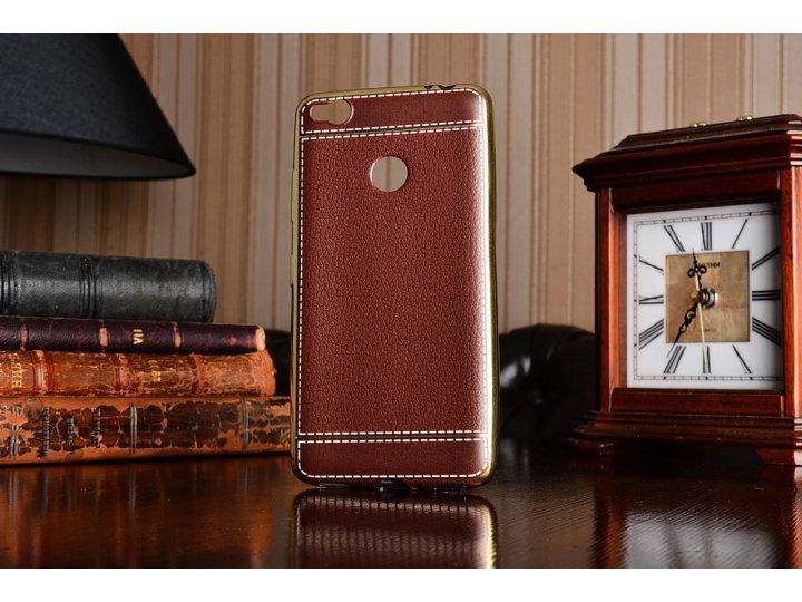 Премиальная элитная крышка-накладка на zte nubia n1 коричневая из качественного силикона с дизайном под кожу..