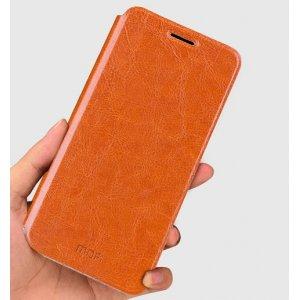 """Фирменный чехол-книжка из качественной водоотталкивающей импортной кожи на жёсткой металлической основе для ZTE Nubia Z11 Mini 5.0"""" (NX529J) коричневый"""