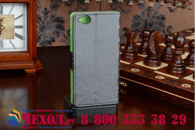 Чехол-книжка из качественной импортной кожи с мульти-подставкой застёжкой и визитницей для зте нубия з9 мини черный