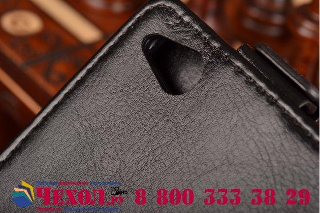 """Вертикальный откидной чехол-флип для zte nubia z9 mini черный кожаный """"prestige"""" италия"""
