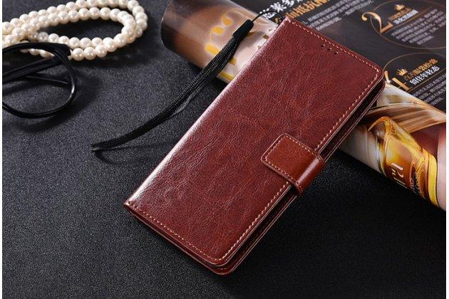 Чехол-книжка из качественной импортной кожи с подставкой застёжкой и визитницей для zte nubia m2 5.5 (nx551j) коричневый