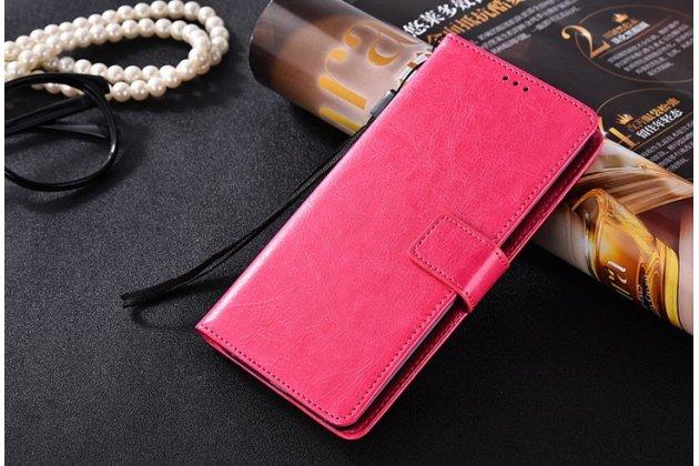Чехол-книжка из качественной импортной кожи с подставкой застёжкой и визитницей для zte nubia m2 5.5 (nx551j)  розовый
