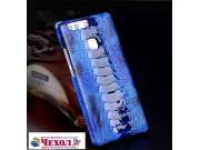 Фирменная роскошная эксклюзивная накладка из натуральной КОЖИ С НОГИ СТРАУСА синяя для ZTE Nubia M2 5.5 (NX551..