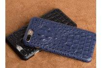 Фирменная роскошная эксклюзивная накладка с объёмным 3D изображением рельефа кожи крокодила синяя для ZTE Nubia M2 5.5 (NX551J). Только в нашем магазине. Количество ограничено
