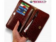 Фирменный эксклюзивный  чехол-кошелек-портмоне с рельефом кожи крокодила коричневый для ZTE Nubia M2 5.5 (NX55..