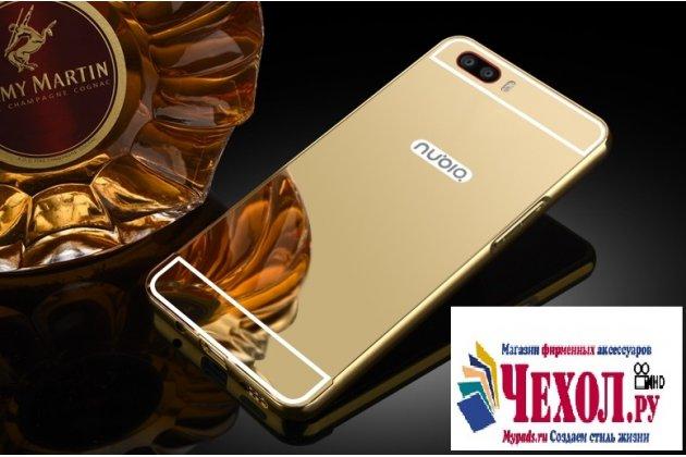 Металлическая задняя панель-крышка-накладка из тончайшего облегченного авиационного алюминия для zte nubia m2 5.5 (nx551j) золотая
