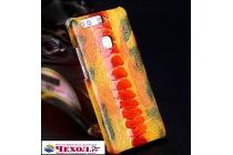 Фирменная роскошная эксклюзивная накладка из натуральной КОЖИ С НОГИ СТРАУСА оранжевая  для ZTE Nubia M2 5.5 (NX551J) . Только в нашем магазине. Количество ограничено