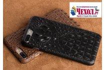 Фирменная роскошная эксклюзивная накладка с объёмным 3D изображением рельефа кожи крокодила черная  для ZTE Nubia M2 5.5 (NX551J). Только в нашем магазине. Количество ограничено