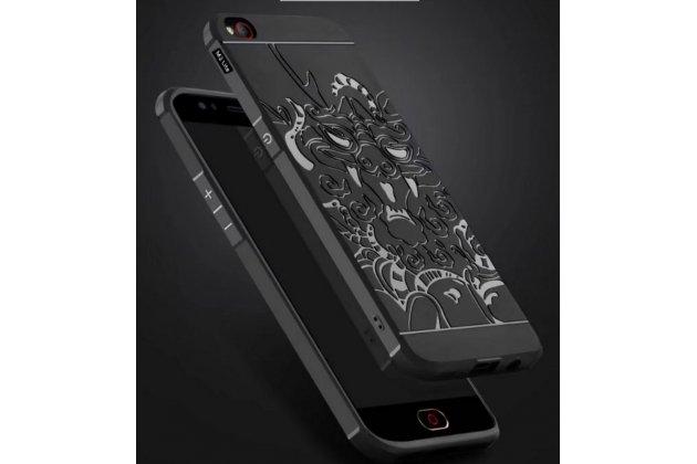 """Роскошная задняя панель-чехол-накладка из мягкого силикона с объемным  3d изображением  на zte nubia m2 5.5 (nx551j)  c с безумно красивым рисунком """"тематика чёрный дракон"""""""