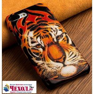 """Роскошная задняя панель-крышка обтянутая импортной кожей для zte nubia m2 5.5 (nx551j) """"тематика тигр"""""""