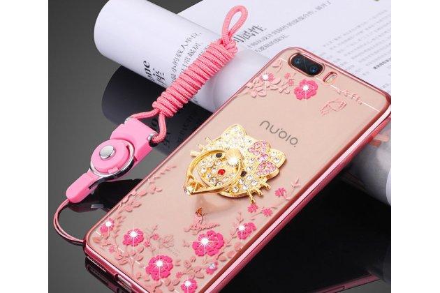 """Роскошная задняя панель-чехол-накладка из мягкого силикона с объемным  3d изображением  на zte nubia m2 5.5 (nx551j) c с безумно красивым рисунком тематика """"розовые цветы"""" которая огибает логотип чтобы была видна марка телефона"""