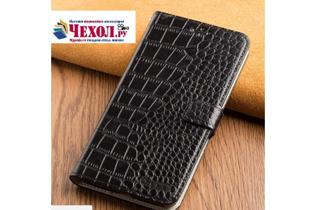 Роскошный эксклюзивный чехол с фактурной прошивкой рельефа кожи крокодила и визитницей черный для zte nubia m2 5.5 (nx551j). только в нашем магазине. количество ограничено