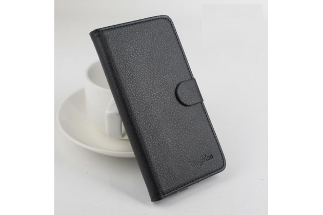"""Чехол-книжка для zte blade hn v993w 5.0"""" с визитницей и мультиподставкой черный кожаный"""