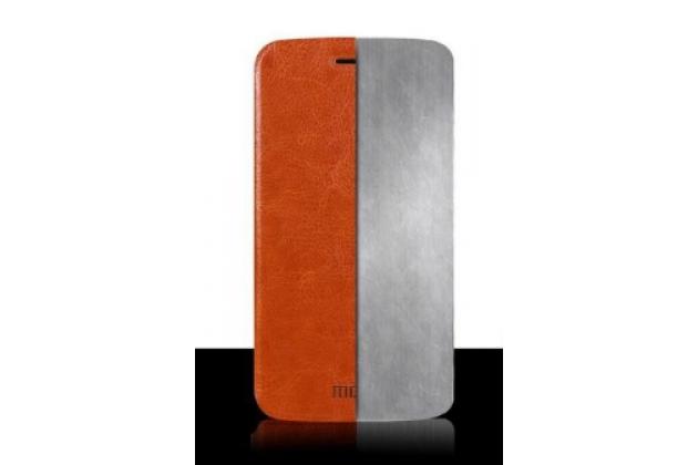 """Чехол-книжка из качественной водоотталкивающей импортной кожи на жёсткой металлической основе для zte grand s3 (s2004) 5.5"""" коричневый"""