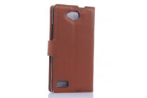 """Чехол-книжка из качественной импортной кожи с подставкой застёжкой и визитницей для zte blade g lux  / kis 3 max (v830) 4.5"""" коричневый"""