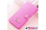 Фирменный роскошный чехол-книжка безумно красивый декорированный бусинками и кристалликами на  ZTE Nubia M2 lite розовый