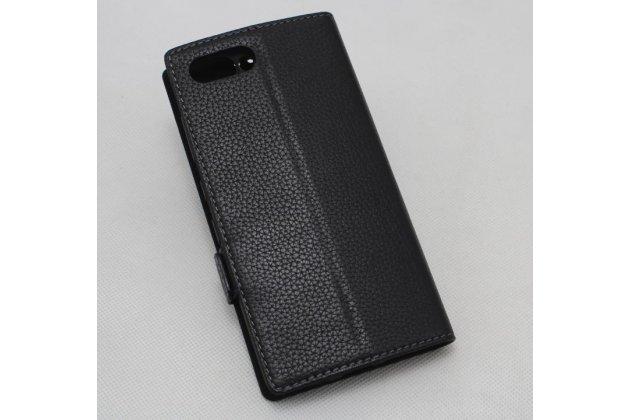 Чехол-книжка с логотипом для blackberry keyone/ dtek70 черный с окошком для входящих вызовов